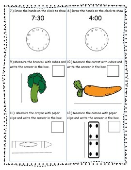 Math Assessment Time, Length and Money