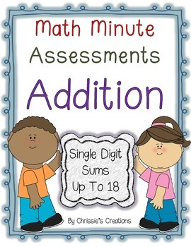 Math Assessment: Timed test sums up to 18:great for RTI an