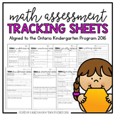Math Assessment Tracking Sheets: Aligned to the Ontario Kindergarten Program