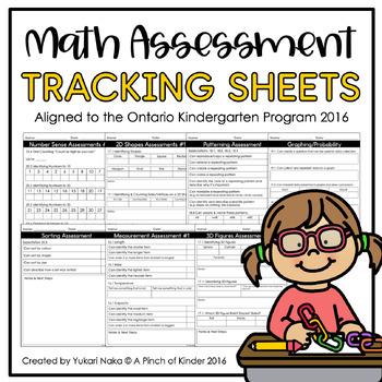 Math Assessment Tracking Sheets: Aligned to the Ontario Kindergarten Program