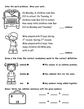 Math Assessment Week 1 for 2nd Grade*COMMON CORE ALIGNED