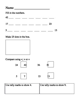 Math Assessment (counting to 50, tallies, graphing, comparing numbers)