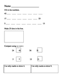 Math Assessment (counting to 50, tallies, graphing, compar