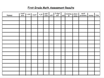 Math Assessment for First Grade-Beginning of the Year