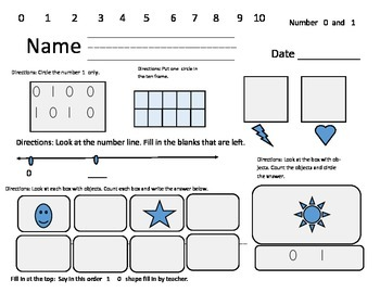 Math Assessment for Numbers 1-10 Kindergarten