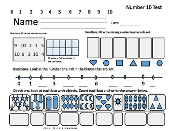 Math Assessment for Numbers 1-10 Kindergarten