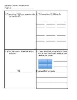 Math Assessment for Numbers and Operations