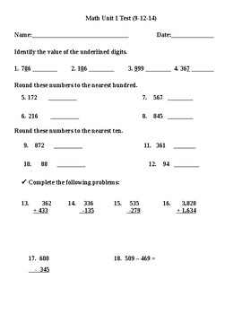 Math Assessment for Numbers and Operations for 3 Grade