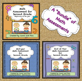 Math Assessments for Second Grade: Beginning, Mid, and End of Year Bundle