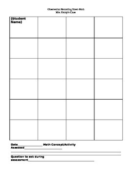 Math Assessment/Observation Recording Sheet