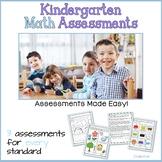 Math Assessments CCSS Kindergarten