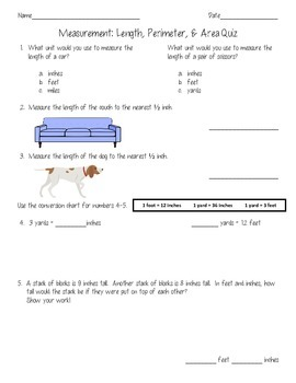 Math Assessments: Measurement-Length, Perimeter, & Area