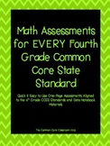 Math Assessments for EVERY Fourth Grade Common Core Standard CCSS 4th