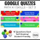 Math Assessments for K-1 Google Quizzes