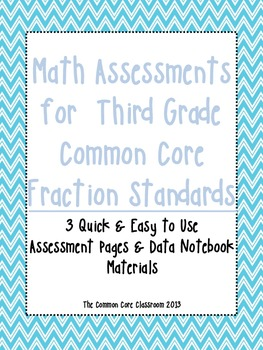 Math Assessments for  Third Grade CCSS Fraction Standards-Aligned to CCSS-3rd