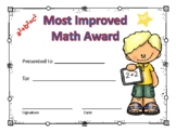 Most Improved Math Award Certificate Boy #1