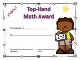 Math Award Certificate Boy #2