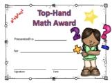Math Award Certificate Girl #3