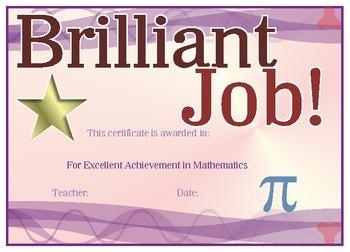 Math Award Certificate of Achievement