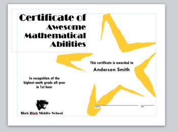 Math Award Certificates | Microsoft Publisher