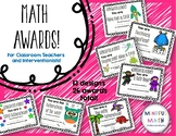 Math Award Certificates for Classroom or Intervention