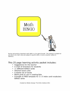 Math BINGO 25-page Packet--Practice Vocabulary and/or Find Solutions
