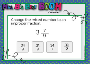 Math BOOM Cards: Improper Fractions & Mixed Numbers