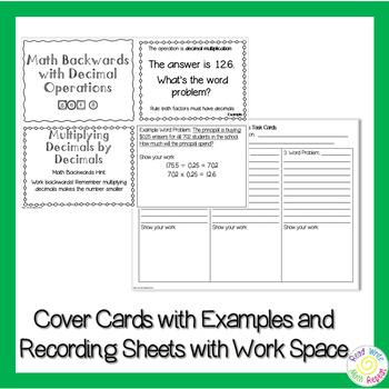Math Backwards Decimals Challenge Task Cards