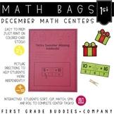 Christmas Activities | Math Centers | Math Bags | 1st Grade