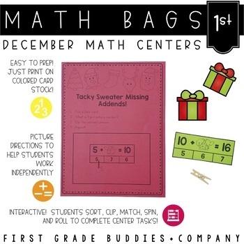 Math Bags for 1st Grade: Christmas Version! (10 Christmas
