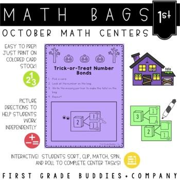 Math Bags for 1st Grade: Halloween Version! (10 Halloween Math Centers)
