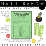 St. Patrick's Day Math Bags for 1st Grade : 10 Math Centers