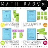 Math Bags for 1st Grade THE COMPLETE SET (40 Common Core Aligned Math Centers)