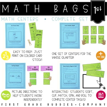 Math Bags for 1st Grade THE COMPLETE SET (40 Common Core A