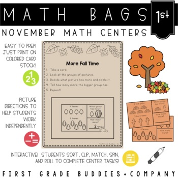 Math Bags for 1st Grade: Thanksgiving Version! (10 Thanksgiving Math Centers)