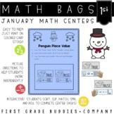 Winter Math Bags for 1st Grade : 10 Math Centers for Winter Activities