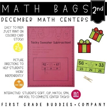 Math Bags for 2nd Grade: Christmas Version! (10 Christmas Themed Math Centers)
