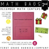 Christmas Math Bags for 2nd Grade: 10 Math Centers for Christmas Activities