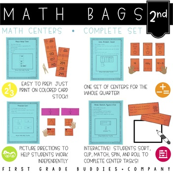 Math Bags for 2nd Grade THE COMPLETE SET (40  Common Core Aligned Math Centers)