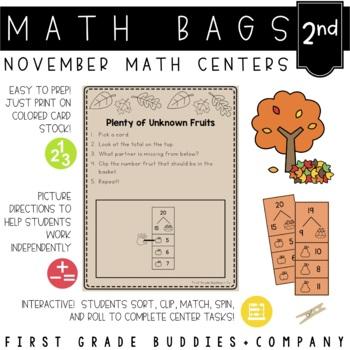 Math Bags for 2nd Grade: Thanksgiving Version! (10 Thanksgiving Math Centers)