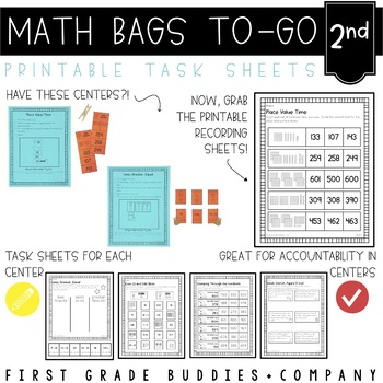 Math Bags for 2nd Grade: To-Go {40  Printable, No Prep Common Core Math Centers}