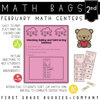 Math Bags for 2nd Grade: Valentine's Day Version! (10 Math Centers)