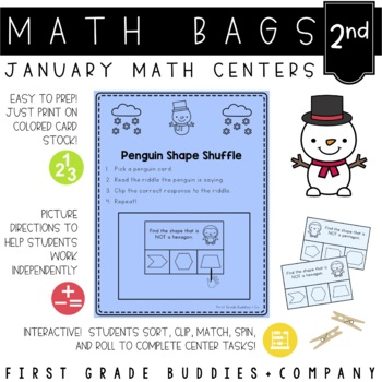 Math Bags for 2nd Grade: Winter Version! (10 Winter Themed Math Centers)