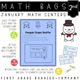 Winter Math Bags for 2nd Grade: 10 Math Centers for Winter Activities