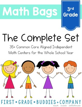 Math Bags for 3rd Grade THE COMPLETE SET (40 Common Core Aligned Math Centers)