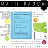 Math Bags for 1st Grade Set 4  (10 Common Core Aligned Mat