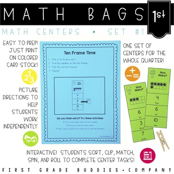 Math Bags for 1st Grade Set 1 (10 Common Core Aligned Math