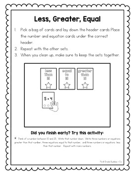 Math Bags for 1st Grade #2 | Math Centers for Collaborative and Indpendent Use
