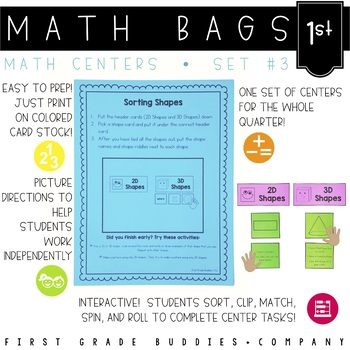 Math Bags for 1st Grade Set 3 (10 Common Core Aligned Math Centers)