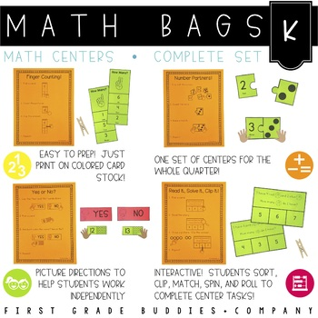 Math Bags for Kindergarten COMPLETE SET (35+ Common Core A